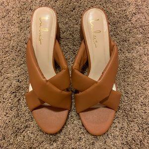 Lulu's Women Brown Sandals Open Toe Low Heel